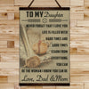 BA018 - To My Daughter - Good Time - Dad & Mom - Baseball Canvas With The Wood Frame