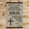 FM006 - Dad To Daughter - Never Lose - Family Canvas With The Wood Frame