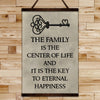 FM011 - The Family Is The Center Of Life And It Is The Key To Eternal Happiness - Family Canvas With The Wood Frame