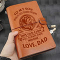 LON004 (JD135) - Dad To Son - This Old Lion - Vintage Journal - Lion Notebook