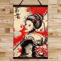 SA033 - Geisha - Samurai Canvas With The Wood Frame