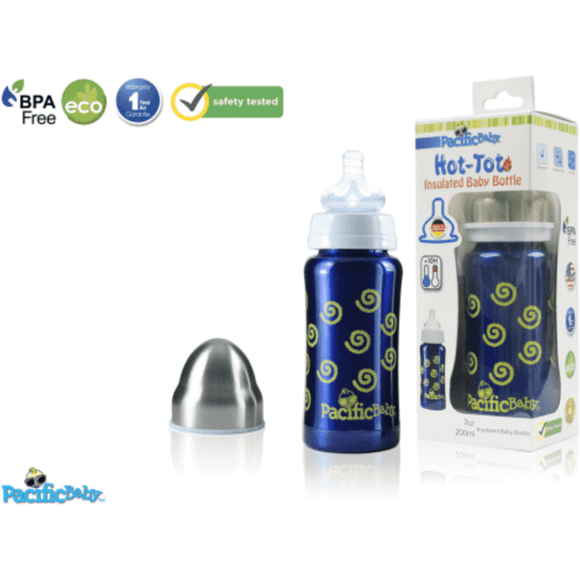 Pacific Baby Hot-Tot Insulated Baby Bottle Swirls 200ml Eco-friendly