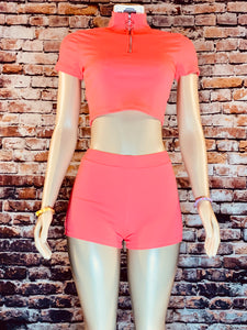 PINK MOCK TOP SHORTS SET - Eightyoneighteen