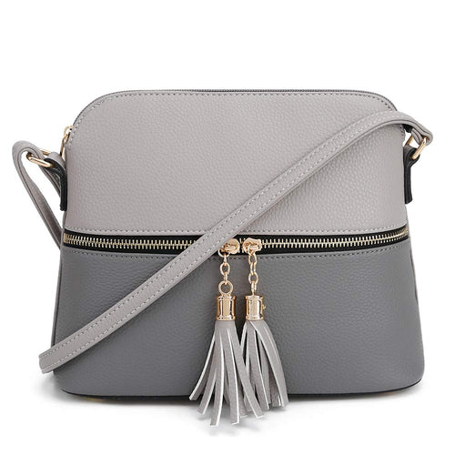 SG SUGU Lightweight Medium Dome Crossbody Bag with Tassel | Zipper Pocket | Adjustable Strap