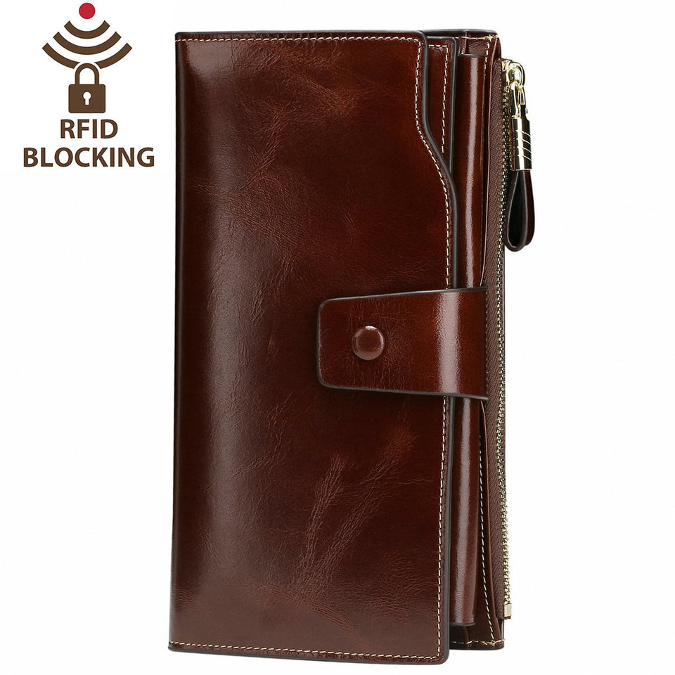 Itslife Women's RFID Blocking Large Capacity Luxury Wax Genuine Leather Clutch Wallet Card Holder Organizer Ladies Purse
