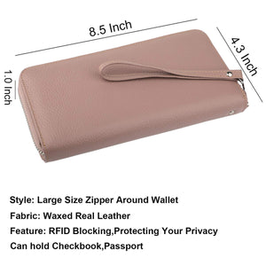 Lavemi Women's RFID Blocking Real Leather Zip Around Wallet Clutch Large Travel Purse Wristlet