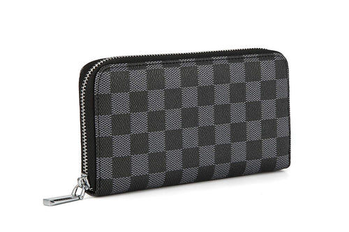 Daisy Rose Women's Checkered Zip Around Wallet and Phone Clutch - RFID Blocking with Card Holder Organizer -PU Vegan Leather
