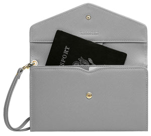 Krosslon Travel Passport Wallet for Women Rfid Wristlet Slim Family Document Holder