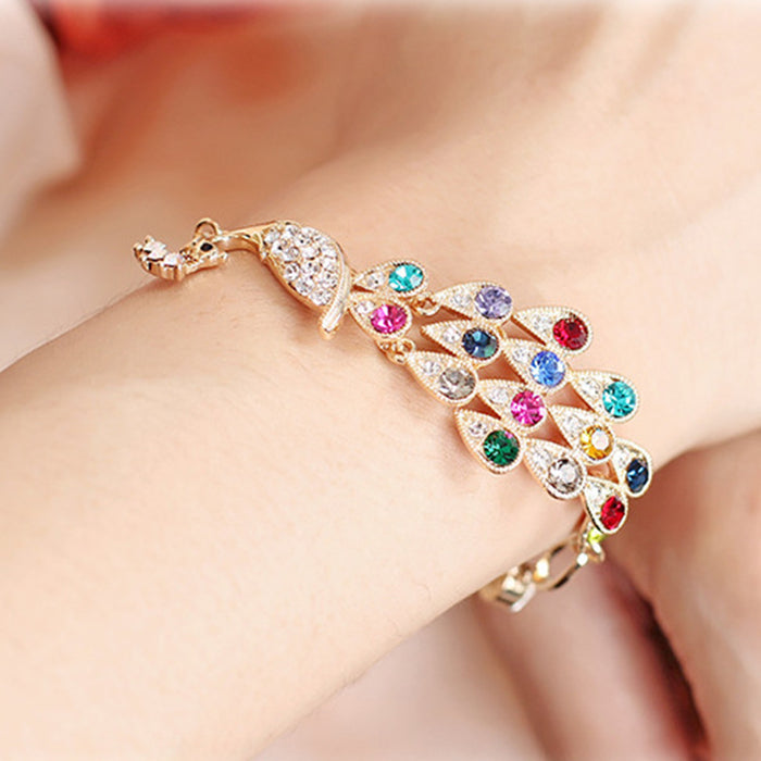 Fashion 18K Gold Plated Colorful Rhinestone Peacock Bracelet Multicolor Austrian Crystal Bangle Bracelet