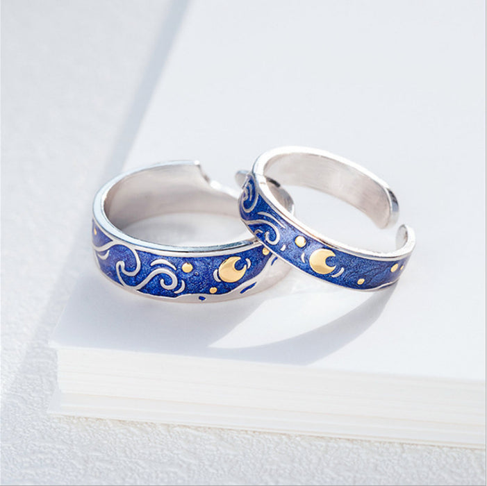 "New Creative Design  ""The Starry Night"" Van Gogh Painting Starry Night Pair Jewelry Gift Rings"