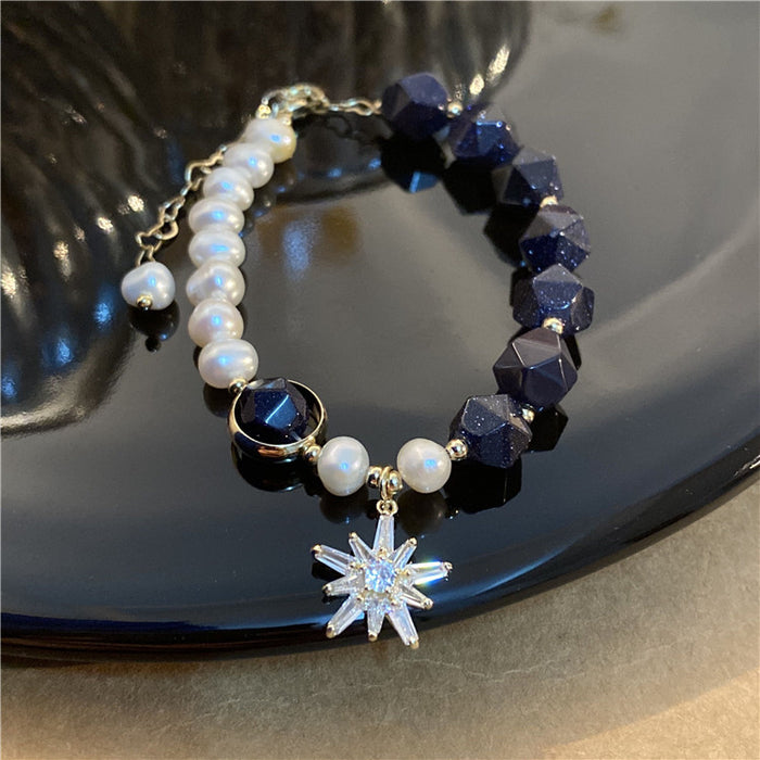 """The Milky Way"" fashion 14K gold pearl beaded bracelet natural stone bracelet for women"
