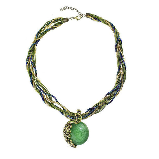 Bohemian retro Natural stone jewelry malachite emerald pendant necklace