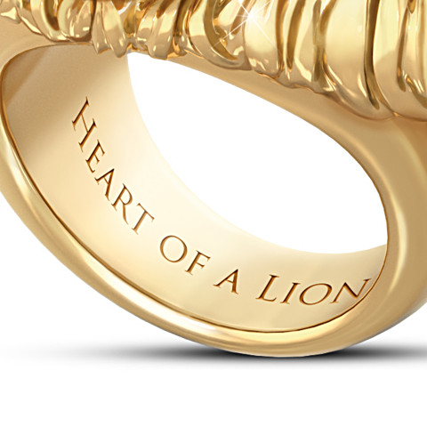 """Heart Of A Lion"" Fashion plated 24K Gold Ion-Plated Men's Sapphire Ring"