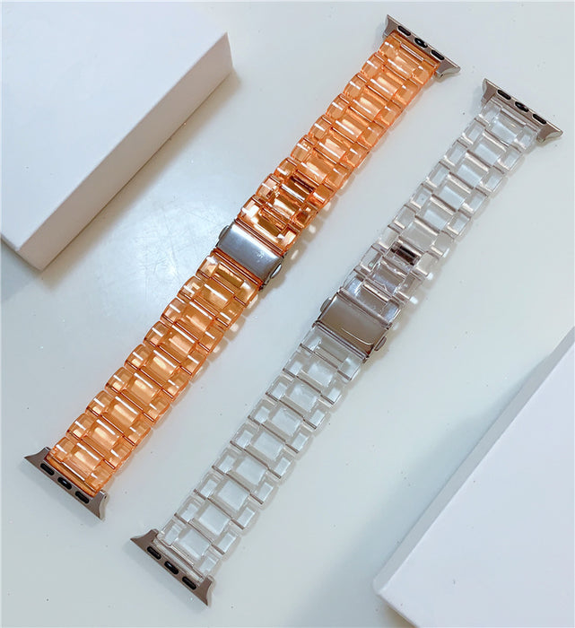 Resin Watch strap for apple watch 5 4 band 42mm 38mm correa transparent steel for iwatch series 5 4 3/2/1 watchband 44mm 40mm
