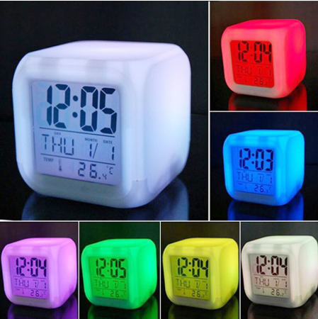 7 Color Change LED Digital Alarm Clock Multi-Funtional Stress Relieve Alarm Clock Digital Glowing Clock Bedroom Products