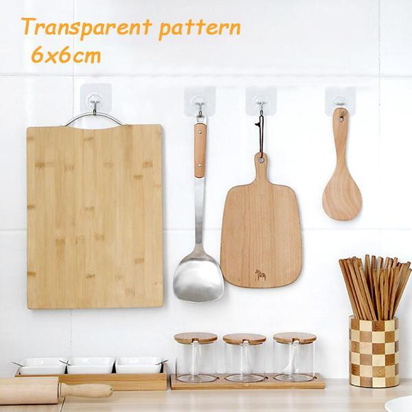 Wall Hooks Transparent Reusable Seamless Adhesive Hooks, Waterproof and Oilproof, Bathroom Kitchen Heavy Duty Wall Hanger