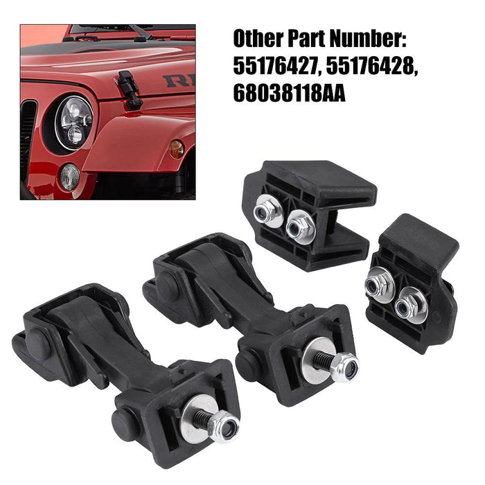 2 Set of Hood Latch Safety Catches & Brackets for Jeep Wrangler 2