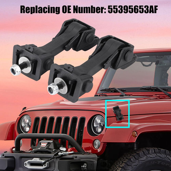 2 Set of Hood Latch Safety Catches & Brackets for Jeep Wrangler
