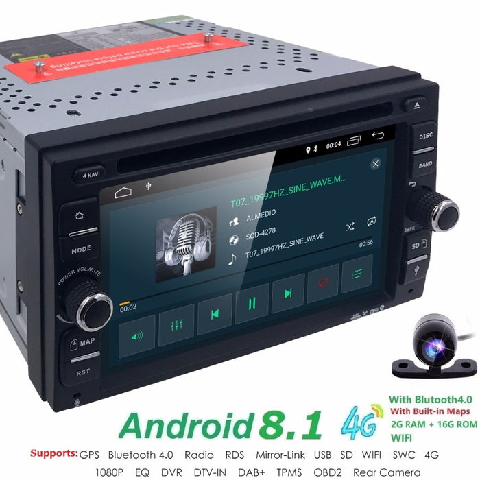 Android 8.1 2 DIN 6 inch  Quad Core Touch screen Car DVD Player Radio Stereo GPS Navi  DVR DAB SWC BT MAP Mirror-link  RDS