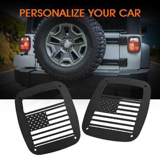 Partol 2 x Black Exterior Rear Tail Light Guard Cover Protect Shade U.S. Flag Shape Hollow Out For Jeep Wrangler 1987-2006 TJ YJ