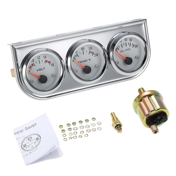 52MM Oil Pressure Fahrenheit Water Temperature Gauge Voltmeter Chrome 3 in 1 Gauge Kit  Car Motorcycle Meter
