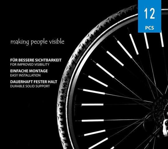 Bicycle Wheel Spoke Reflector (12 Pcs) - Fits All Standard Spoked Wheels