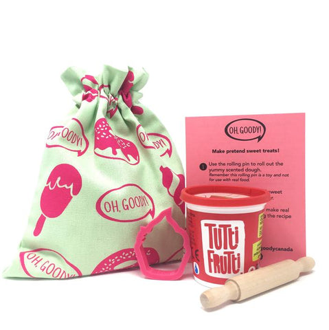 Canadian eco-friendly loot bags party favours kids birthday party crafts cookies ice cream donuts pink and teal