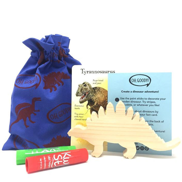 Canadian eco-friendly loot bags party favours kids birthday party crafts dinosaurs. blue and red.