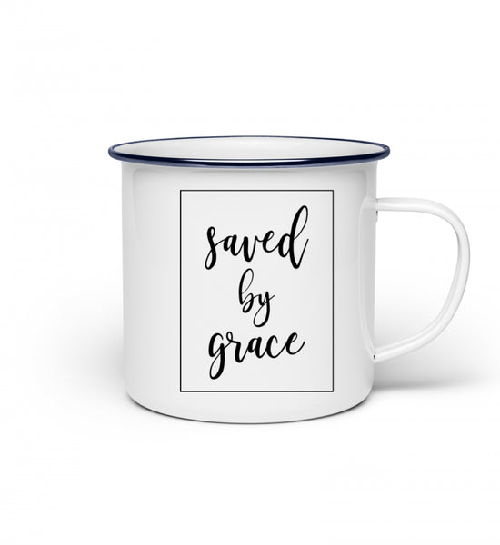 Saved by grace - Emaille Tasse