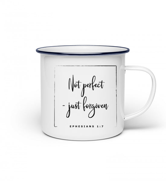 Not perfect - just forgiven - Emaille Tasse