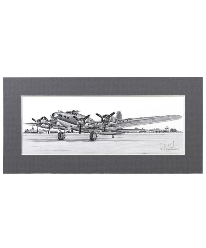 B-17 Flying Fortress Matted Print Small