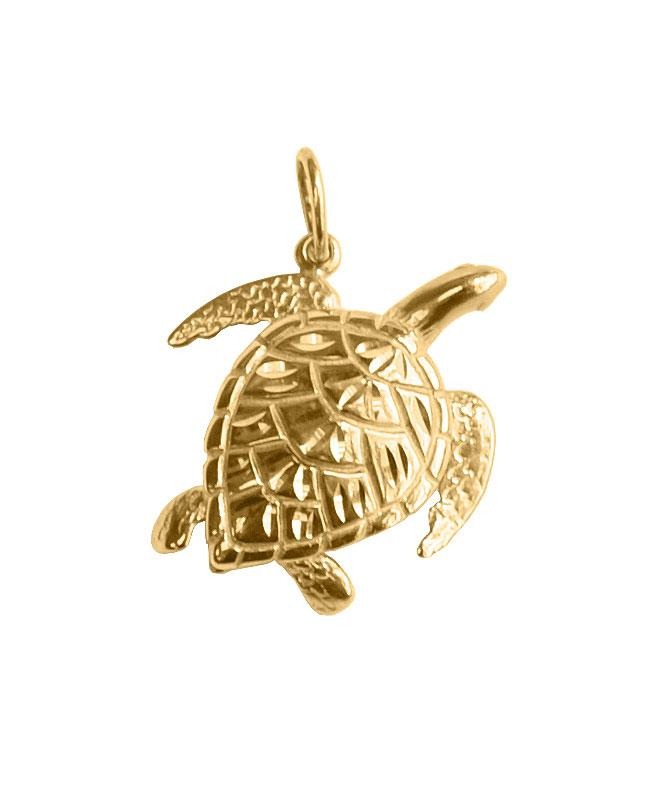 14k Yellow Gold Sea Turtle Pendant