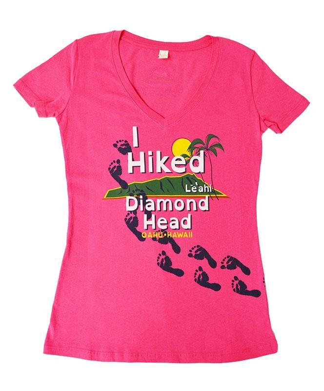 Woman's I Hiked Diamond Head T-shirt, Hot Pink
