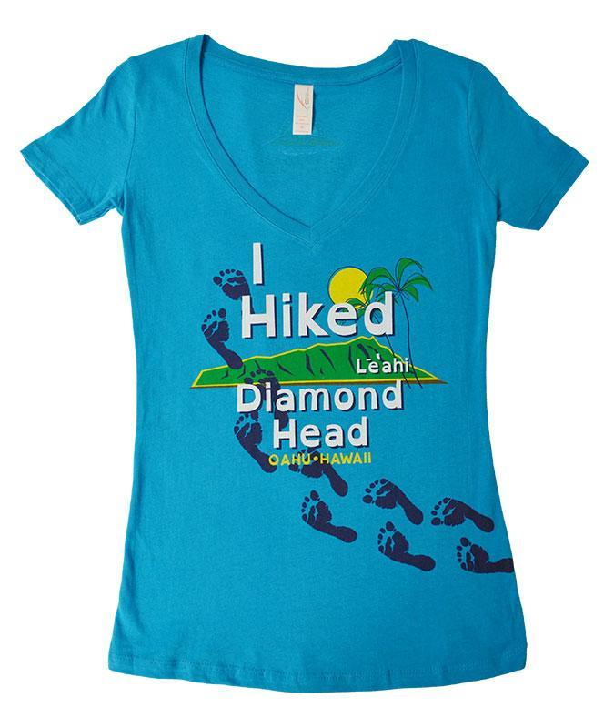 Woman's I Hiked Diamond Head T-shirt, Turquoise