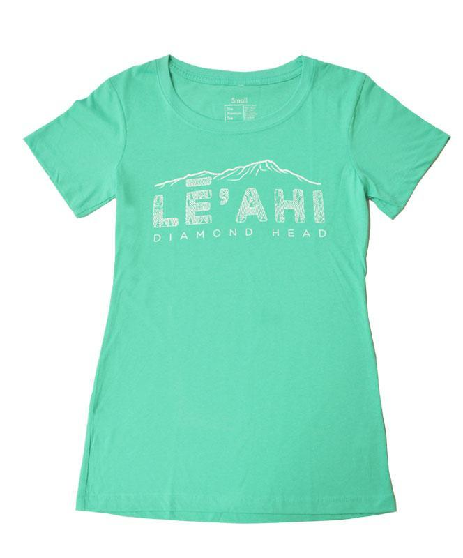 Woman's Diamond Head (Leahi) Etched T-shirt, Tahiti Blue
