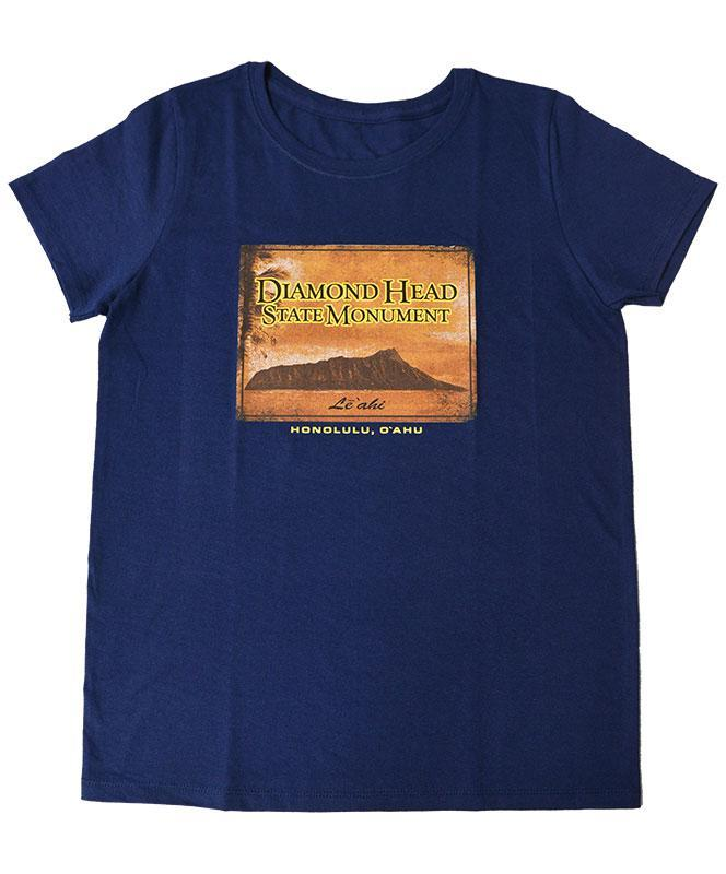 Woman's Diamond Head Vintage T-shirt, Navy Blue
