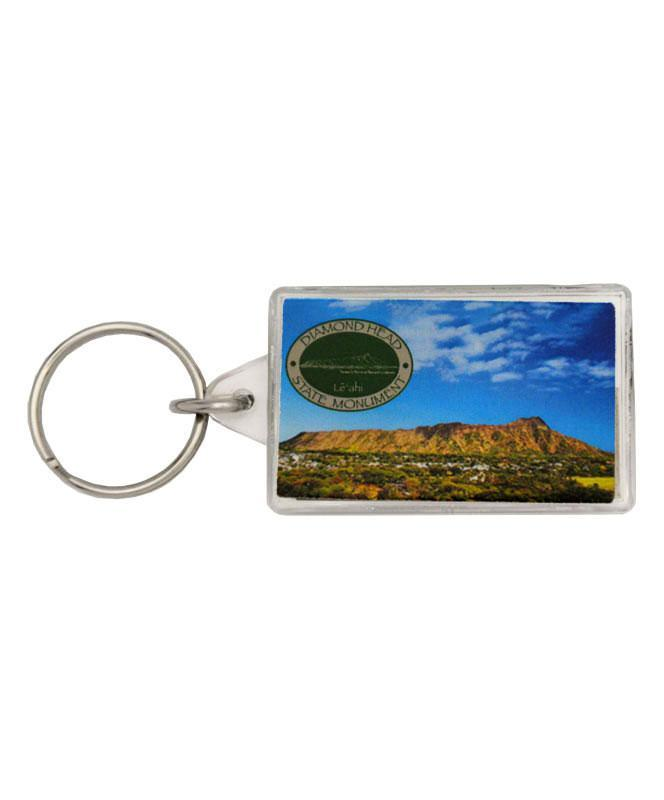 Diamond Head Keychain with Thermometer and Compass