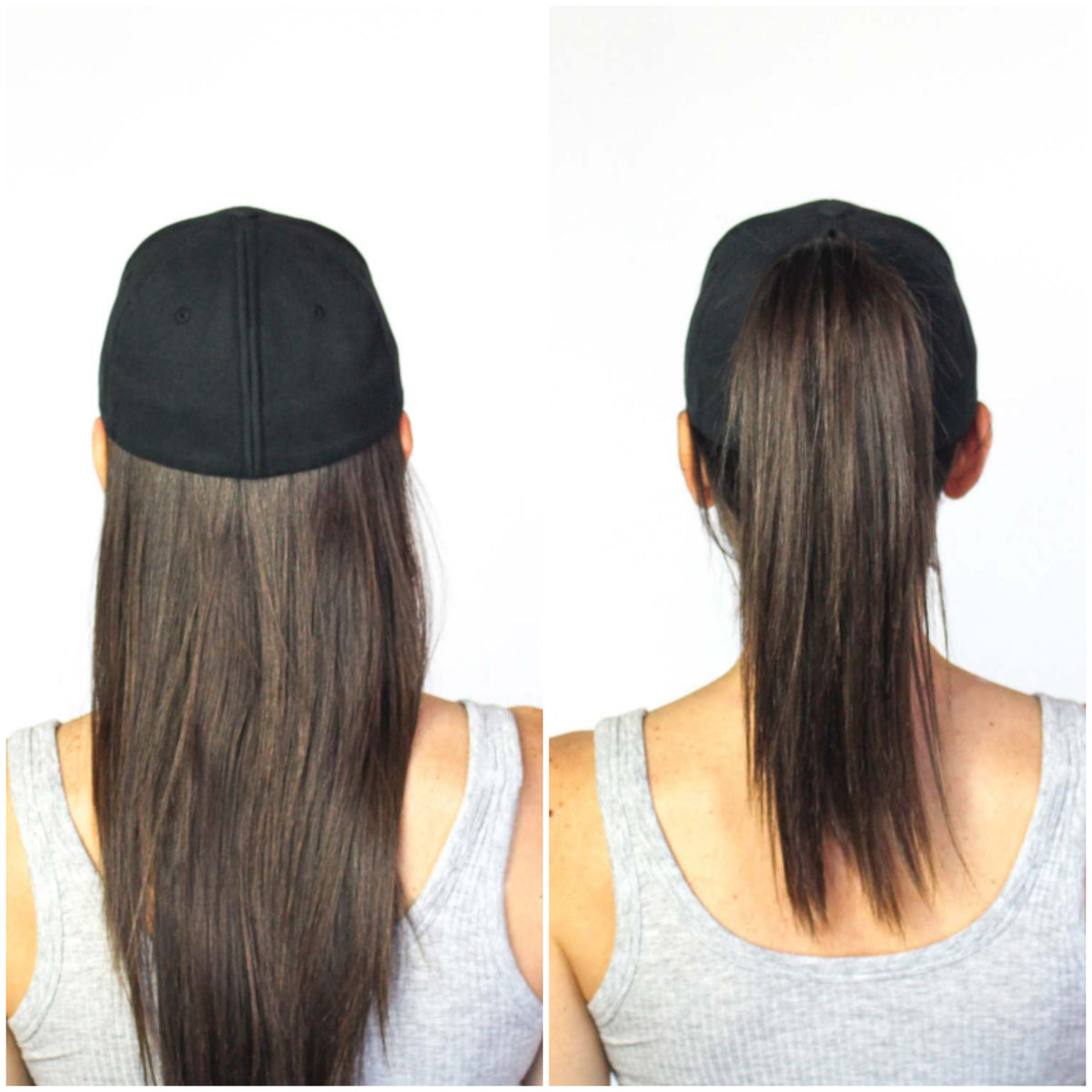 Back view of a women wearing a black ponytail hat with her hair down and the same women in an image beside wearing a black ponytail hat with a ponytail pulled through an opening along the back seam of the ponytail hat.