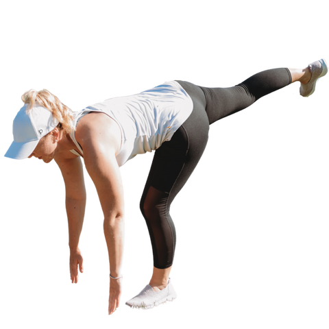 Women in three legged dog yoga pose, wearing a women's Ponyback ponytail hat with a high pony