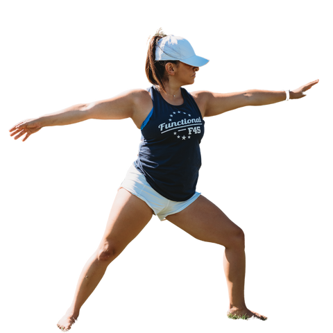 Women in warrier two yoga pose, wearing a womens white Ponyback ponytail hat with a high ponytail