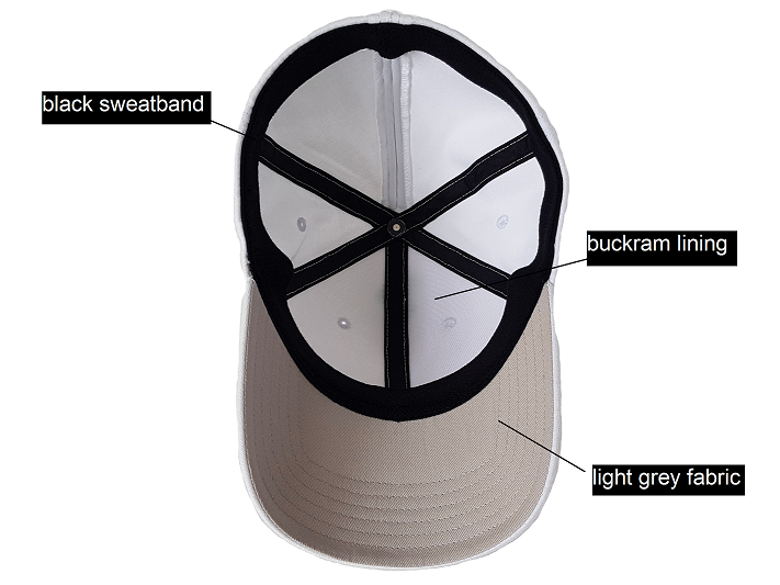 Image of the inside of a white Ponyback ponytail hat, this image shows that there is a black sweatband, grey fabric under the visor and buckram lining. The ponytail hat opening is in closed position at the back.