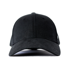 Load image into Gallery viewer, Front view of black Ponyback ponytail hat with structured front