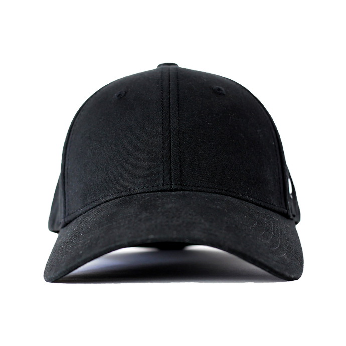 Front view of black Ponyback ponytail hat with structured front
