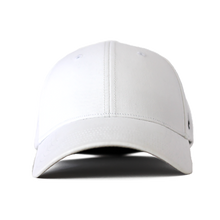 Load image into Gallery viewer, Front view of a white Ponyback ponytail hat with a structured front.