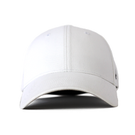 Front view of a white Ponyback ponytail hat with a structured front.