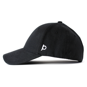 Side view of a black Ponyback ponytail hat that showcases the Ponyback logo in white embroidery.