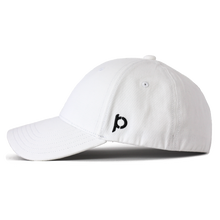 Load image into Gallery viewer, Side view of a white ponytail hat that showcases the Ponyback logo in black embroidery.