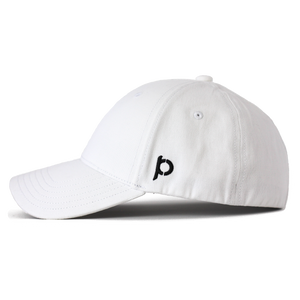 Side view of a white ponytail hat that showcases the Ponyback logo in black embroidery.