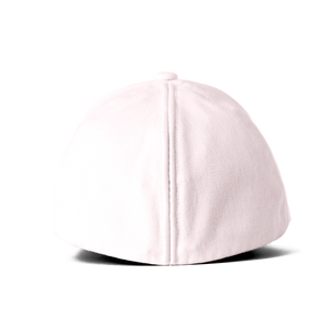 Back view of the pink Ponyback ponytail hat with the back opening in closed position