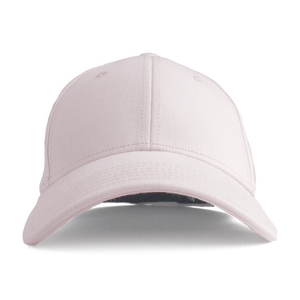Front view of pink Ponyback ponytail hat with structured front